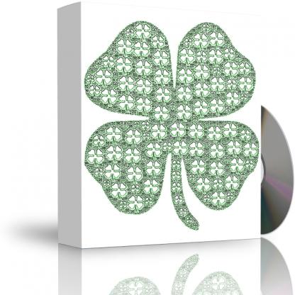 Caja con CD. La carátula de la caja muestra trévol de cuatro hojas fractal