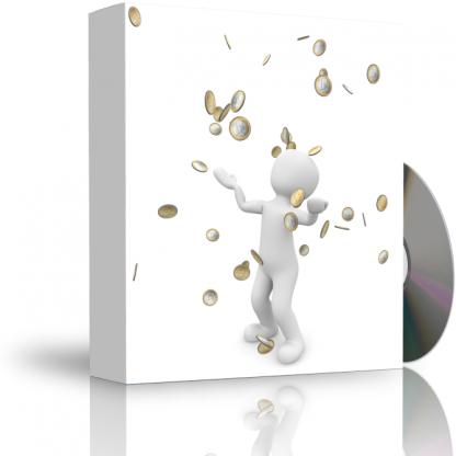 Caja con CD. La carátula de la caja muestra persona recibiendo lluvia de dinero