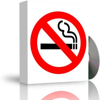 Caja con CD. La carátula de la caja muestra señal de prohibido fumar