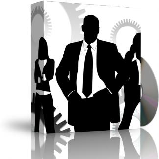 Caja con CD. La carátula de la caja muestra un hombre y dos mujeres con traje de trabajo