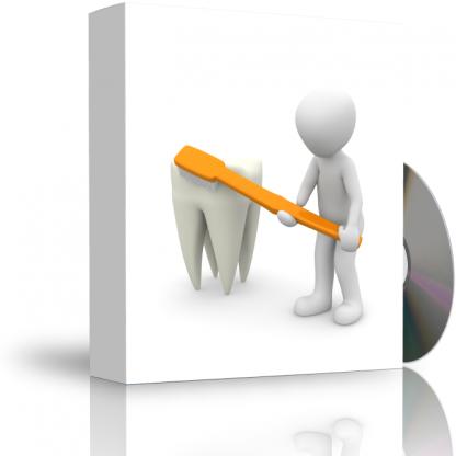 Caja con CD. La carátula de la caja muestra persona cepillando un diente gigante